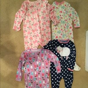 4 - footed footie pajamas 24M carters + little me